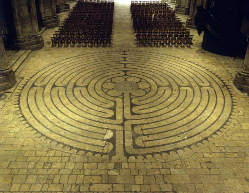 France, Chartres Cathedral looking down on the Labyrinth 12th century